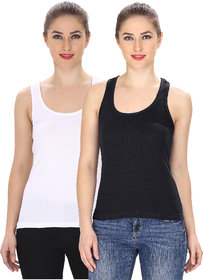 Friskers Black white Camisole  Tank Top Pack of 2