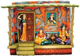 SAI SARTHAK ENTERPRISE RAJASTHANI PEOPLE IN THE HUT MULTI-COLOUR HAND-PAINTING WALL-HANGING/TABLE-TOP (2 IN 1)