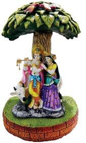 SAI SARTHAK ENTERPRISE RADHA-KRISHNA WITH COW  TREE MULTI-COLOUR HAND-PAINTING SHOW-PIECE.