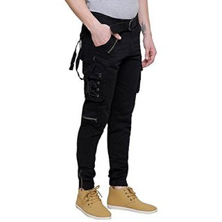 Meoby Men's Dori Style Black Cotton Relaxed Fit Zipper Cargo Pants