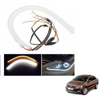 Auto Addict 2PCS 60cm (24) Car Headlight LED Tube Strip, Flexible DRL Daytime Running Silica Gel Strip Light, DC 12V Soft Tube Lamp Fancy Light,(Yellow,White) For Volkswagen Vento