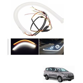 Auto Addict 2PCS 60cm (24) Car Headlight LED Tube Strip, Flexible DRL Daytime Running Silica Gel Strip Light, DC 12V Soft Tube Lamp Fancy Light,(Yellow,White) For Toyota Innova Crysta