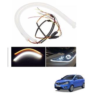 Auto Addict 2PCS 60cm (24) Car Headlight LED Tube Strip, Flexible DRL Daytime Running Silica Gel Strip Light, DC 12V Soft Tube Lamp Fancy Light,(Yellow,White) For Tata Zest
