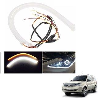 Auto Addict 2PCS 60cm (24) Car Headlight LED Tube Strip, Flexible DRL Daytime Running Silica Gel Strip Light, DC 12V Soft Tube Lamp Fancy Light,(Yellow,White) For Tata Safari Storme