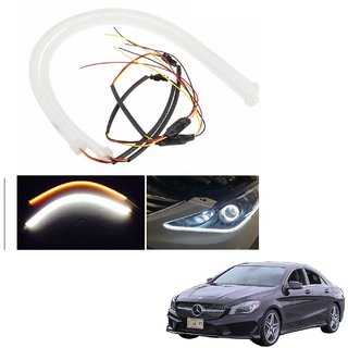 Auto Addict 2PCS 60cm (24) Car Headlight LED Tube Strip, Flexible DRL Daytime Running Silica Gel Strip Light, DC 12V Soft Tube Lamp Fancy Light,(Yellow,White) For Mercedes Benz CLA-Class