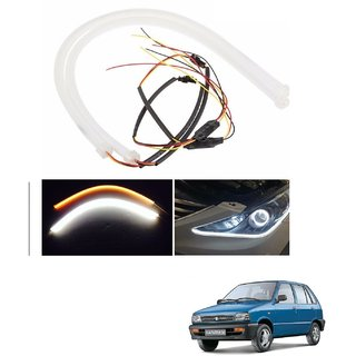 Auto Addict 2PCS 60cm (24) Car Headlight LED Tube Strip, Flexible DRL Daytime Running Silica Gel Strip Light, DC 12V Soft Tube Lamp Fancy Light,(Yellow,White) For Maruti Suzuki 800
