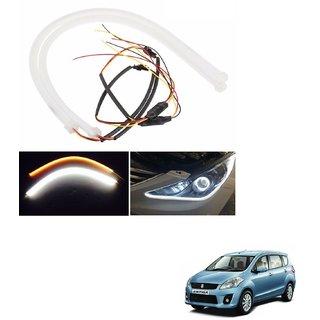 Auto Addict 2PCS 60cm (24) Car Headlight LED Tube Strip, Flexible DRL Daytime Running Silica Gel Strip Light, DC 12V Soft Tube Lamp Fancy Light,(Yellow,White) For Maruti Suzuki Ertiga