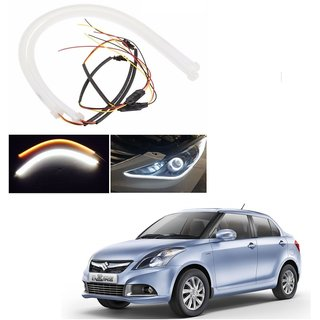 Auto Addict 2PCS 60cm (24) Car Headlight LED Tube Strip, Flexible DRL Daytime Running Silica Gel Strip Light, DC 12V Soft Tube Lamp Fancy Light,(Yellow,White) For Maruti Suzuki Swift Dzire Type-2(2011-2017)