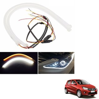 Auto Addict 2PCS 60cm (24) Car Headlight LED Tube Strip, Flexible DRL Daytime Running Silica Gel Strip Light, DC 12V Soft Tube Lamp Fancy Light,(Yellow,White) For Maruti Suzuki Celerio