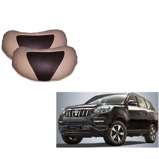 Auto Addict Car Neck Rest Pillow Cushion Beige, Brown Leatherite Set of 2 PcsFor Mahindra XUV 300
