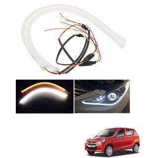 Auto Addict 2PCS 60cm (24) Car Headlight LED Tube Strip, Flexible DRL Daytime Running Silica Gel Strip Light, DC 12V Soft Tube Lamp Fancy Light,(Yellow,White) For Maruti Suzuki Alto 800
