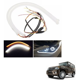 Auto Addict 2PCS 60cm (24) Car Headlight LED Tube Strip, Flexible DRL Daytime Running Silica Gel Strip Light, DC 12V Soft Tube Lamp Fancy Light,(Yellow,White) For Mahindra Bolero