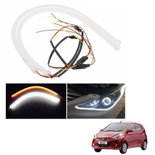 Auto Addict 2PCS 60cm (24) Car Headlight LED Tube Strip, Flexible DRL Daytime Running Silica Gel Strip Light, DC 12V Soft Tube Lamp Fancy Light,(Yellow,White) For Hyundai Eon