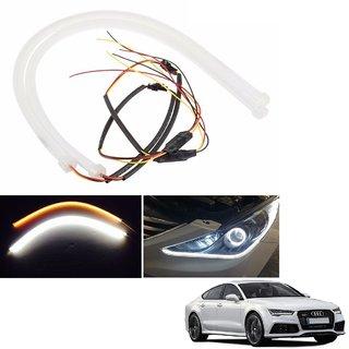 Auto Addict 2PCS 60cm (24) Car Headlight LED Tube Strip, Flexible DRL Daytime Running Silica Gel Strip Light, DC 12V Soft Tube Lamp Fancy Light,(Yellow,White) For Audi A7