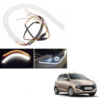 Auto Addict 2PCS 60cm (24) Car Headlight LED Tube Strip, Flexible DRL Daytime Running Silica Gel Strip Light, DC 12V Soft Tube Lamp Fancy Light,(Yellow,White)For Hyundai Santro New 2018