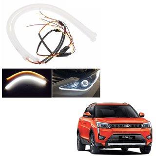 Auto Addict 2PCS 60cm (24) Car Headlight LED Tube Strip, Flexible DRL Daytime Running Silica Gel Strip Light, DC 12V Soft Tube Lamp Fancy Light,(Yellow,White)For Mahindra XUV 300
