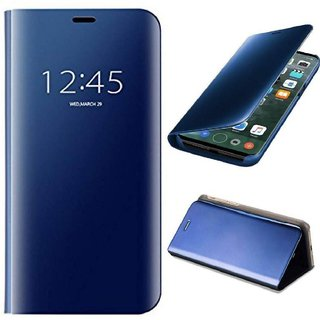 BM Premium Mirror Flip Case Cover with Stand for Vivo Y95 (BLUE