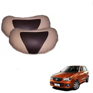 Auto Addict Car Neck Rest Pillow Cushion Beige, Brown Leatherite Set of 2 Pcs For Maruti Suzuki Alto K10