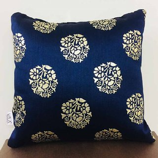VAA Metalic Blue Color Floral Printed Cushion