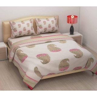 SHAKRIN Jaipuri Cotton Double Bedsheet With 2 Pillow Covers