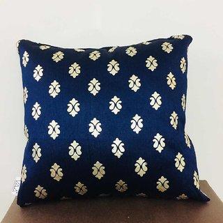 VAA Metalic Blue Color Boho Printed Cushion
