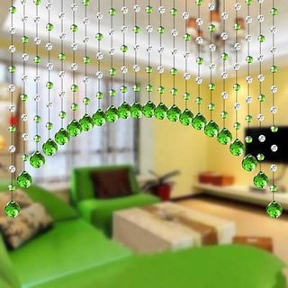D4P Acrylic Crystal Plastic Strings Bead Hanging Curtain (Set of 10)(Green)