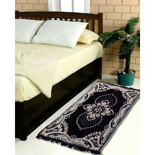 Buy Super Textile Industry 1 Piece Velvet Touch Abstract Chenille Carpet - 60 X 24 (Black) Online - Get 62% Off