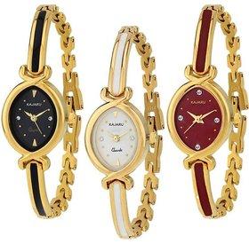 Aks kada Black,White,Red Stylist Looking Analog Watch Combo Pack of 3 Watch