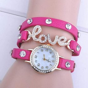 White Round Dial Pink Leather Strap Analog Watch For Women