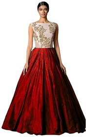 V-KARAN Red Silk Embroidered Gown (Semi Stitched)