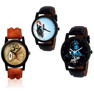 New Mahadev Blue With Shiv Drum With Shiv Jata Stylist Looking Analog Men,Boys  Combo Pack Of 3 Watch