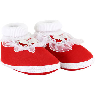 Neska Moda Baby Boys And Baby Girls Red Soft Slip On Booties For 0 To 6 Months BT387