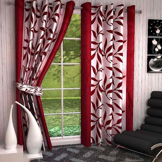 HomeStore-YEP Floral Polyester Door Curtain(Pack of 2) - 7ft, Red