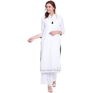Pinky Pari Chikankari White Straight Fit Chinese Collar Kurta With Palazzo