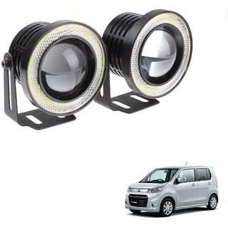 Auto Addict 3.5 High Power Led Projector Fog Light Cob with White Angel Eye Ring 15W,Set of 2 For Maruti Suzuki WagonR StinBrown