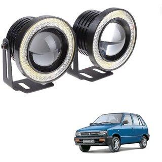 Auto Addict 3.5 High Power Led Projector Fog Light Cob with White Angel Eye Ring 15W,Set of 2 For Maruti Suzuki 800