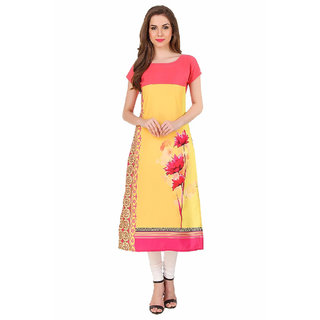 New Ethnic 4 You Woman's Crepe Digital Print Straight Cut Casual Kurti