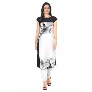 New Ethnic 4 You Digital Print Multicolor Woman's Crepe Straight Cut Kurti