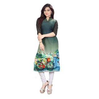 New Ethnic 4 You Woman's Crepe Straight Cut Kurti