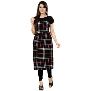 New Ethnic 4 You Woman'sStitched Digital Print Crepe Straight Cut Kurti Multicolor
