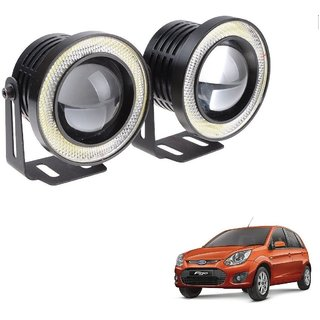 Auto Addict 3.5 High Power Led Projector Fog Light Cob with White Angel Eye Ring 15W,Set of 2 For Ford Figo