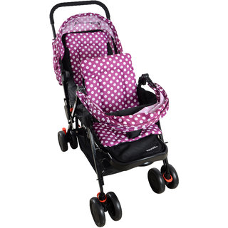 Polka Tots Soft Comfortable Shockproof Purple Twin Stroller Pram with Rain Cover