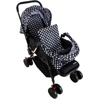 Polka Tots Soft Comfortable Shockproof Black Twin Stroller Pram with Rain Cover