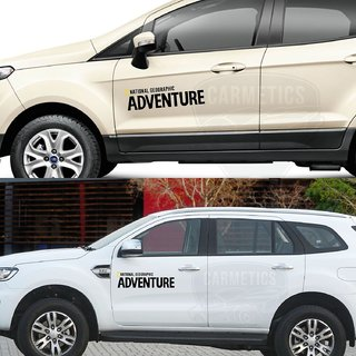 CarMetics Nat Geo ADVENTURE car bonnet door offroad explorer wild life decals  stickers exterios graphics logo emblem accessories for Hyundai Verna Mirror Finish - 1 Set