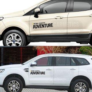 CarMetics Nat Geo ADVENTURE car bonnet door offroad explorer wild life decals  stickers exterios graphics logo emblem accessories for Maruti Suzuki Swift 2018 Mirror Finish - 1 Set