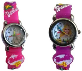 Barbie analog purple and pink colour kids girls watch combo watch