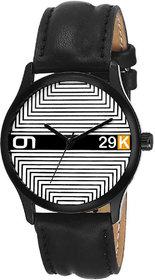 29K Men's Round Dial Black Leather Strap Wrist Watch M-615