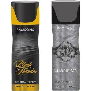 Ramsons Black Thunder+Champion Body Spray - For Men  Women,200 ML each ,pack of 2