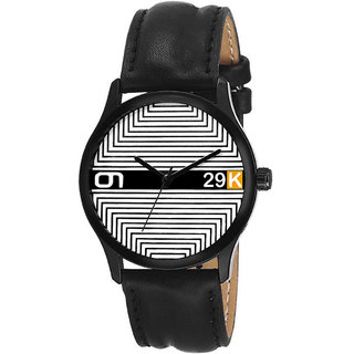 29K Men's Round Dial Black Leather Strap Wrist Watch M-615