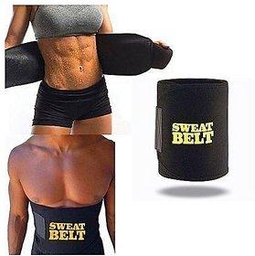 Discount Point Regular Sweat Belt Slimming Belt for Lower Body (Black)